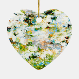 Green water colour grunge graphic design art ceramic heart decoration