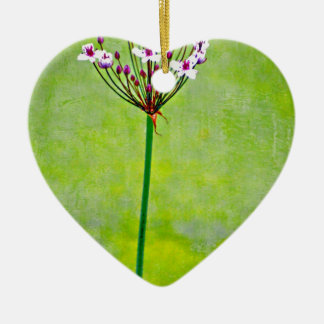 green water lily ceramic heart decoration