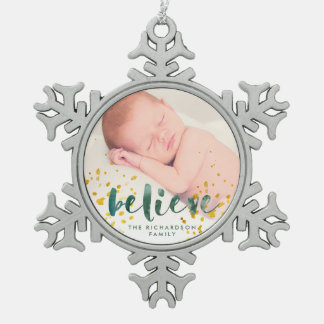 Green Watercolor and Gold Believe   Photo Snowflake Pewter Christmas Ornament