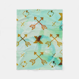 Green Watercolor Arrows Blanket