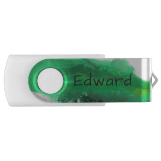 Green Watercolor Brushstroke Splash USB Flash Drive