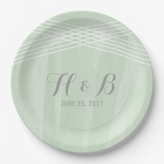 Green Watercolor Deco Wedding 9 Inch Paper Plate