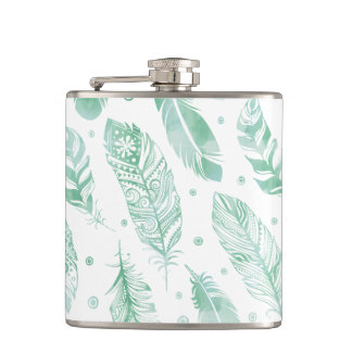 Green Watercolor Feather Tribal Pattern Flask