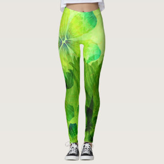 Green Watercolor Floral Pattern Leggings