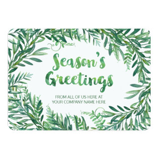 Green Watercolor Foliage Christmas Cards Business