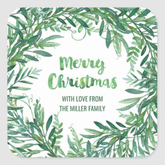 Green Watercolor Foliage Christmas Custom Square Sticker