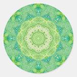Green Watercolor Fractal Mandala Round Sticker