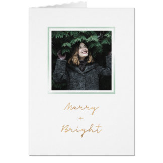 Green watercolor frame Christmas card - folded