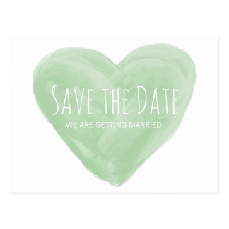 Green Watercolor Heart Save the Date Postcard