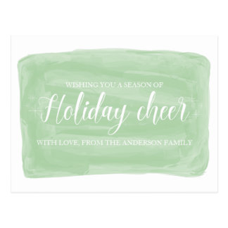 Green Watercolor Holiday Cheer Postcard