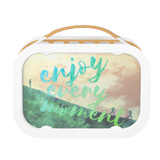 Green Watercolor Jogging Running Inspirational Lunch Box
