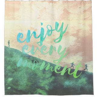 Green Watercolor Jogging Running Inspirational Shower Curtain