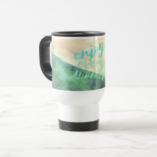 Green Watercolor Jogging Running Inspirational Travel Mug