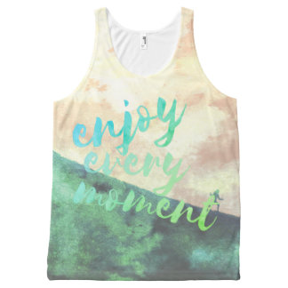 Green Watercolor Jogging Running Typography All-Over Print Tank Top