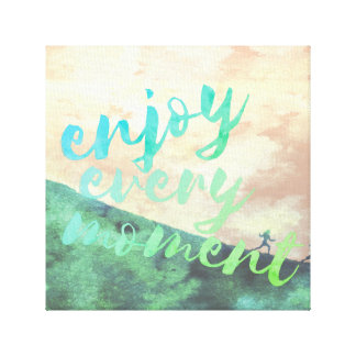 Green Watercolor Jogging Running Typography Canvas Print