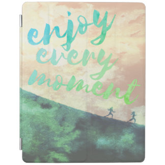 Green Watercolor Jogging Running Typography iPad Cover