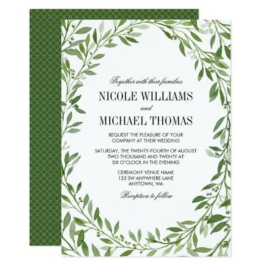 Green Watercolor Laurel Leaf Wreath Wedding Card