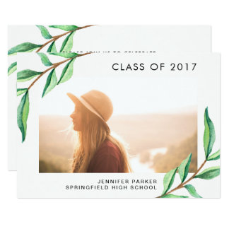 Green Watercolor Leaves and Photo Graduation Party Card