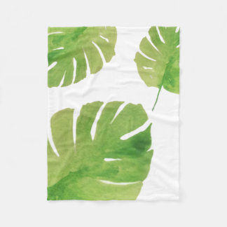 Green Watercolor Leaves Blanket