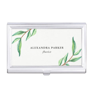 Green Watercolor Leaves on White Business Card Holder