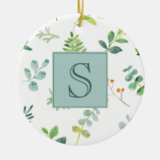Green Watercolor Leaves on White Monogram Ornament