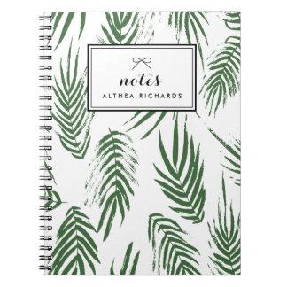 Green Watercolor Leaves Pattern Custom Notebook