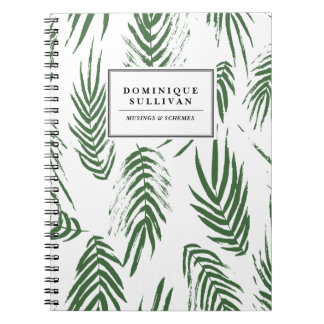 Green Watercolor Leaves Pattern Personalized Notebooks
