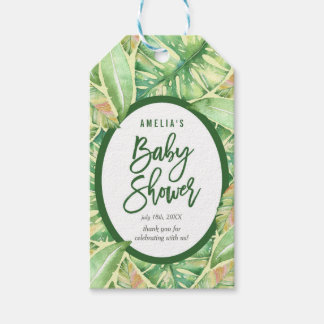 Green Watercolor Leaves Tropical Baby Shower Gift Tags