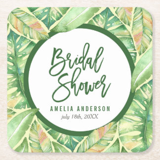 Green Watercolor Leaves Tropical Bridal Shower Square Paper Coaster