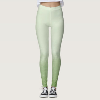Green Watercolor Ombre Leggings
