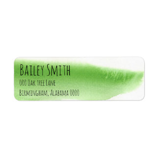green watercolor pattern trendy address label fun