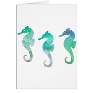 Green Watercolor Seahorses Card