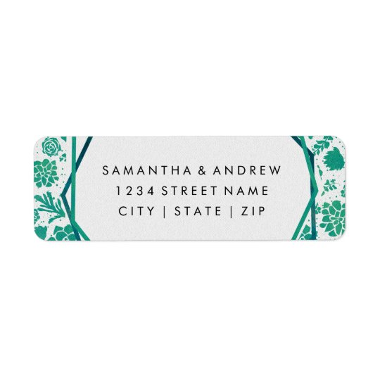 Green Watercolor Succulent Wedding Return Address