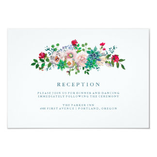 Green Watercolor Succulents and Flowers Reception Card