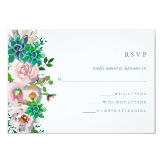 Green Watercolor Succulents and Flowers | RSVP Card