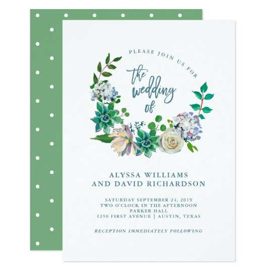 Green Watercolor Succulents and Flowers | Wedding Card