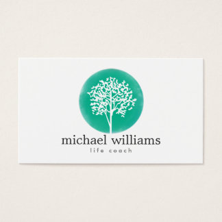 Green Watercolor Tree Life Coach, Counselors Business Card