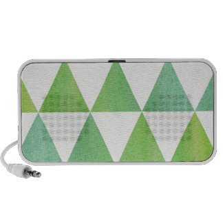 Green Watercolor Triangles Patterned Design Travelling Speakers