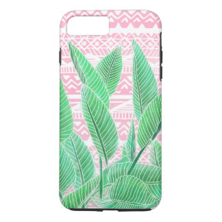 Green watercolor tropical leaf pink aztec pattern iPhone 8 plus/7 plus case