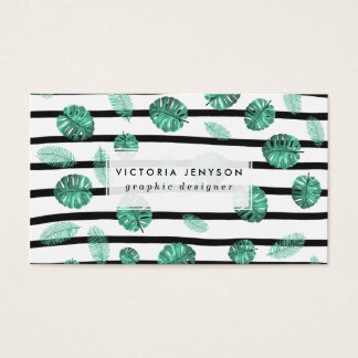Green watercolor tropical leaf stripes pattern business card