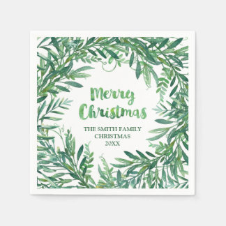 Green Watercolor Tropical Leaves Christmas Napkin Disposable Serviette