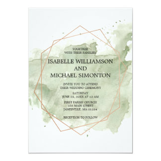 Green Watercolor Wash Wedding Invitations