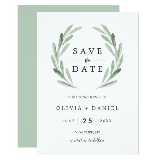 Green Watercolor Wreath Wedding Save the Date Card