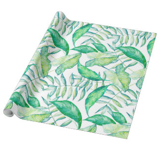 Green Watercolors Illustration Leafs Pattern Wrapping Paper