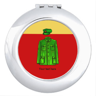 Green Watercolour Chairman Mao Coat and Hat Compact Mirror