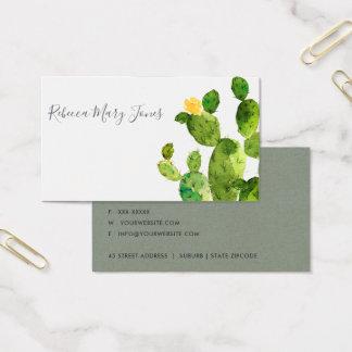 GREEN WATERCOLOUR DESERT CACTUS FLOWER  MONOGRAM BUSINESS CARD