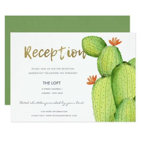 GREEN WATERCOLOUR DESERT CACTUS FLOWER  RECEPTION CARD