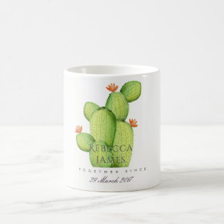 GREEN WATERCOLOUR DESERT CACTUS SAVE THE DATE GIFT COFFEE MUG