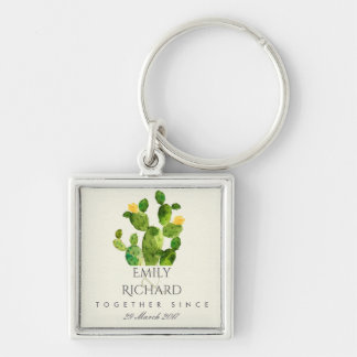 GREEN WATERCOLOUR DESERT CACTUS SAVE THE DATE GIFT KEY RING