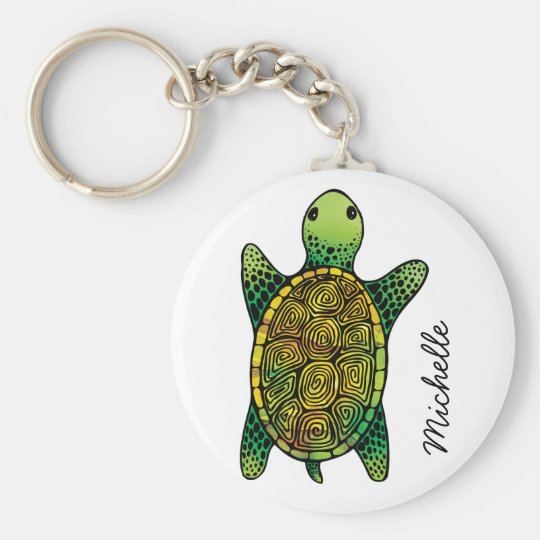 Green Watercolour Ink Drawn Turtle Basic Round Button Key Ring